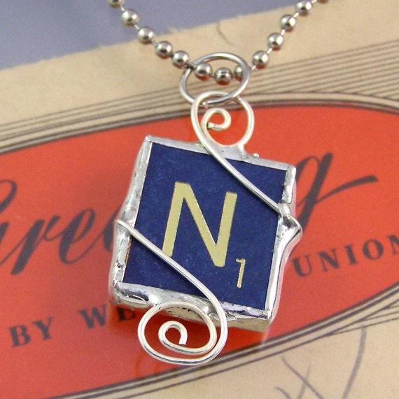 Blue Letter N Scrabble Pendant Necklace