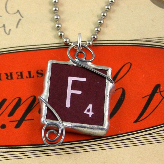 Burgundy Scrabble Letter F Pendant Necklace