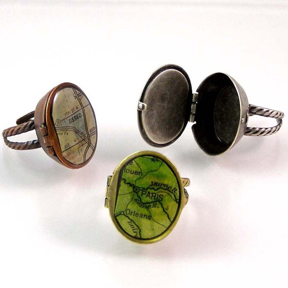 Custom Map Ring with Secret Compartment