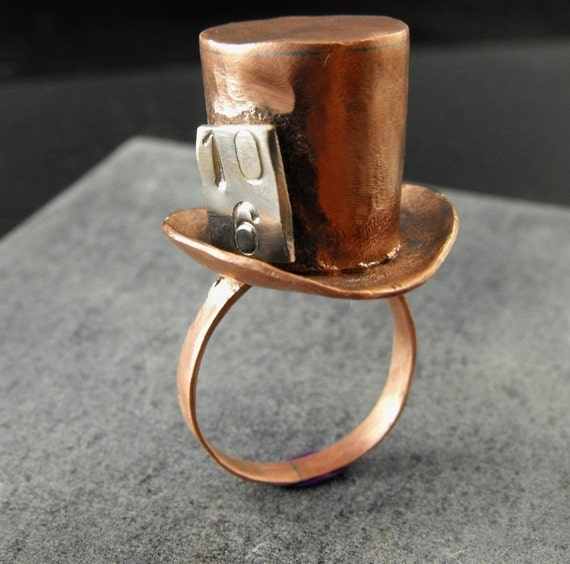 mad hatter ring mini top hat ring - made to order