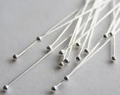 Ball Head Sterling Head Pins.  50pcs