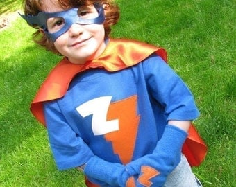 PERSONALIZED Superhero Set Cape costume Kids Cape Tee Mask and Gloves