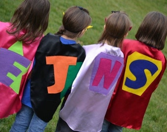 4  Superhero Capes and 4 Superhero masks  Childrens Personalized Custom Capes