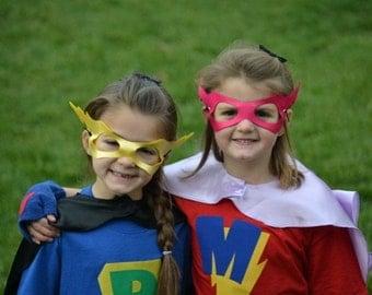 2  Superhero Masks lightenbolt  or Princess Mask fits kids and adults