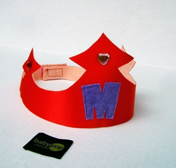 1 Custom Girls Princess Prince Crown with Childs Initial