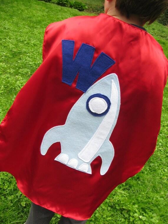 Childrens Capes Custom Spaceship superhero Kid Cape w/ intial