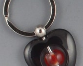 Clear and Red Transparent Lampworked Glass and Metal Keychain (E-10238)