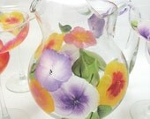 Hand Painted Hibiscus Margarita Glass and Pitcher Set