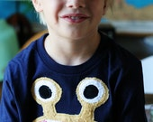 Mustard Bernard Monster on Navy Tee sizes 2, 4, 6, 8, 10, 12