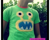 yellow Bernard on NEON green monster tee - sizes 2,4,6,8,10,12