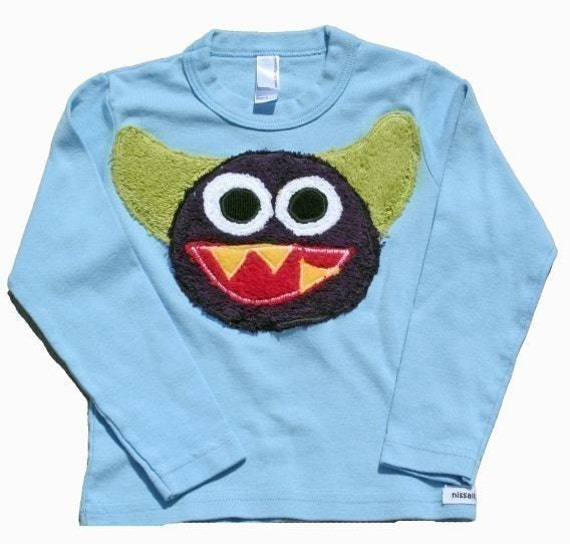 Stanley the monster tee in L/S blue sizes 2,4,6 also available in S/S