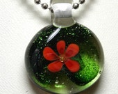 Coral Floral on Deep Shimmering Green Lampwork Pendant with 16 inch Ball Chain Necklace