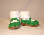 Luck o' The Irish Green Sparkly Mary Jane Booties, Size Small (6 month)