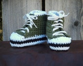 Olive Green High Top Sneaker Booties, size X-Small (3 month)