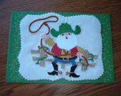 Greeting Cards, Set of Two - Embroidered Designs - Cowboy Santa and Magic Dog with Christmas Tree - Custom Order