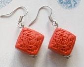 Red Cinnabar  Squares Earrings