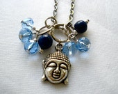 Simple Blue Beads and Buddha Charm Necklace