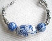 Blue and White Porcelain Bead Bracelet