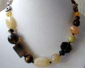 Earthy Neutral Colored Mixed Stone Chunky Statement Necklace