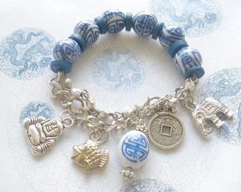 Blue & White Porcelain Charm Bracelet