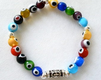 Magic Eye or Evil Eye Beaded Bracelet