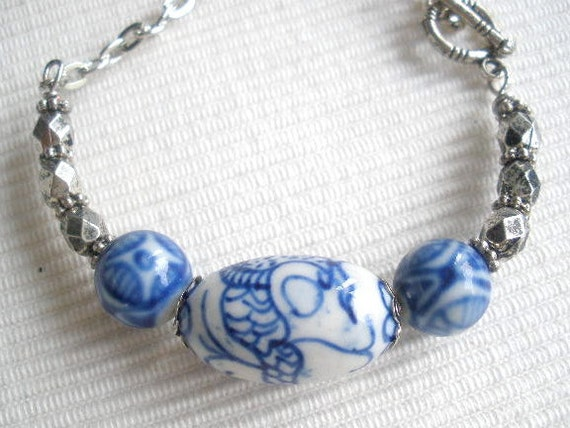 Blue and White Porcelain Bead Bracelet