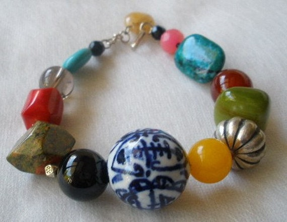 Mixed Multicolored Stone Chunky Statement Bracelet