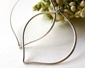 Large Lotus Petal Earrings - Organic, Simple, Everyday Jewelry, Hoop Earrings