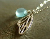 "CUSTOM ORDER for annabelblythe - Fairy Necklace with Aqua Chalcedony on 30"" Sterling Silver Chain"