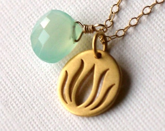 Lotus Tag Necklace with Seafoam Pale Green Chalcedony on Gold-Filled Chain - Organic, Zen, Yoga and Everyday Jewelry