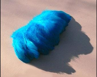 80 brilliant blue strung Goose Feathers