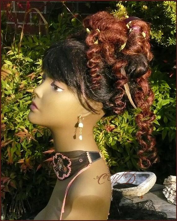 Victorian Redhead Curly Hair Bun on a barrette - IN STOCK