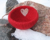 My Felted Valentine Ring Bowl Red With Pink Alpaca Heart