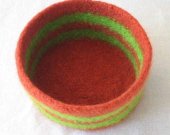 SALE! Rust Orange and Lime Green Bowl