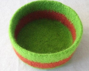 SALE! Lime Green and Rust Orange Bowl