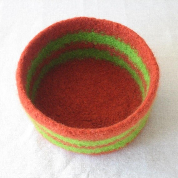 Rust Orange and Lime Green Bowl
