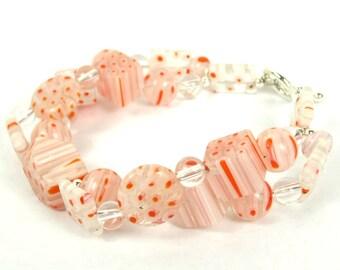 KALEIDOSCOPE Collection - Orange Millefiori Italian Glass Double Strand Bracelet