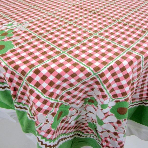 Vintage Table Linen - Pink, Green, & Brown Check with Zig Zag Bordered and Diasy Floral Print - So Retro Cotton Tablecloth