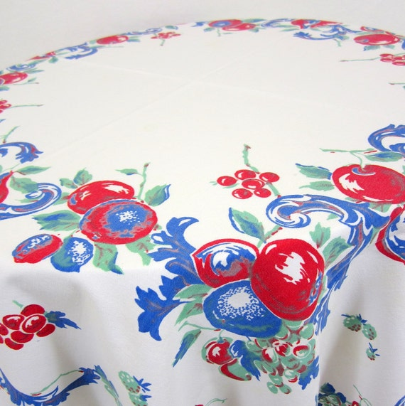 Vintage Tablecloth - 1950s Red & Blue Apple and Grape Design Rectangular Table Linen