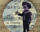 At Evening- original collage ornament