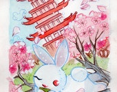 Pink Spring Cherry Blossoms Bunny Print
