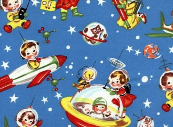 items similar to retro rocket rascals space kids fabric