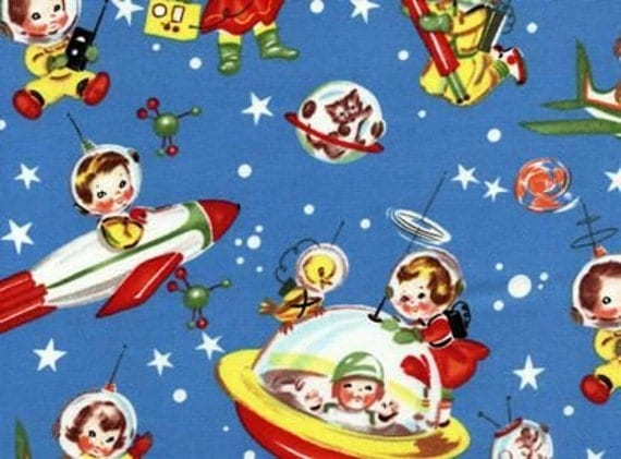 Items similar to retro rocket rascals space kids fabric for Kids space fabric