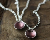 glass enamel necklace - plum eggplant on silver limited edition