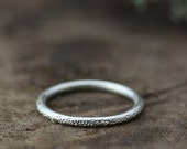 sterling silver band, stardust textured recycled metal ring, stacking ring, wedding ring eco friendly