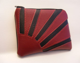 Dark Red and Black Rising Sun Coin Purse