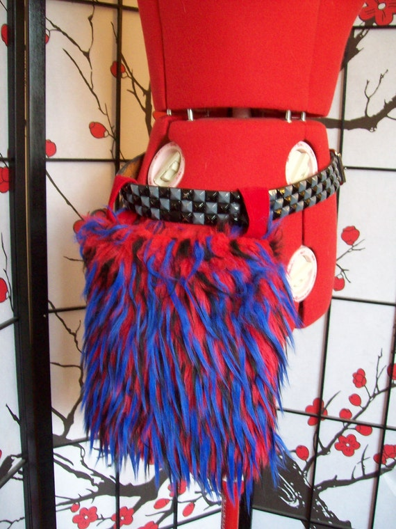 Red and Blue feathered fur hip bag