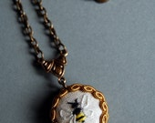 Honey Bee Hand Embroidered Necklace