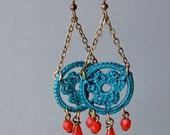 Teal Chandelier Crocheted Lace Earrings
