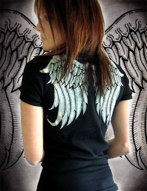 Womens angel wings top poison apple shirts tattoo diy punk emo for Apple shirt screen printing